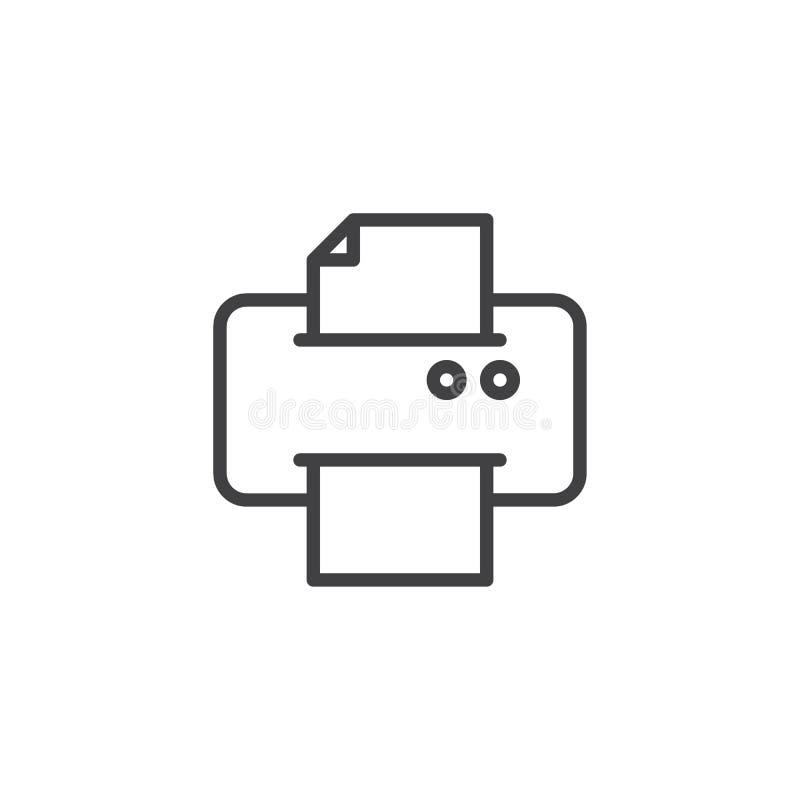 Drukarka druku dokumentu papieru linii ikona ilustracja wektor