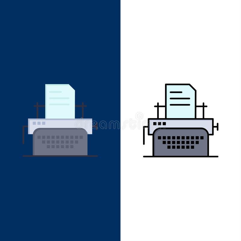 Drukarka, faks, druk, Maszynowe ikony Mieszkanie i linia Wypełniający ikony Ustalony Wektorowy Błękitny tło royalty ilustracja