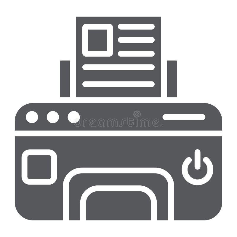 Drukarka glifu ikona, przyrząd i druk, faksu znak, wektorowe grafika, bryła wzór na białym tle royalty ilustracja