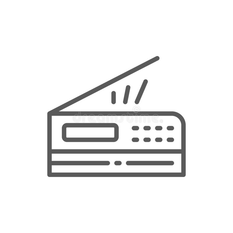Drukarka, przeszukiwacz, copier kreskowa ikona ilustracji