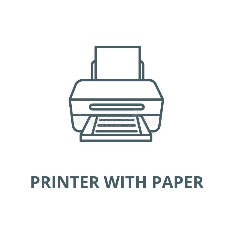 Drukarka z papierową wektor linii ikoną, liniowy pojęcie, konturu znak, symbol ilustracji