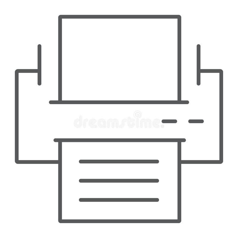 Drukarki cienka kreskowa ikona, biuro i praca, faksu znak royalty ilustracja