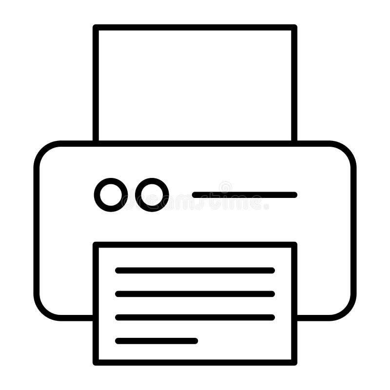 Drukarki cienka kreskowa ikona Biurowej drukarki wektorowa ilustracja odizolowywająca na bielu Przyrządu konturu stylu projekt, p ilustracja wektor