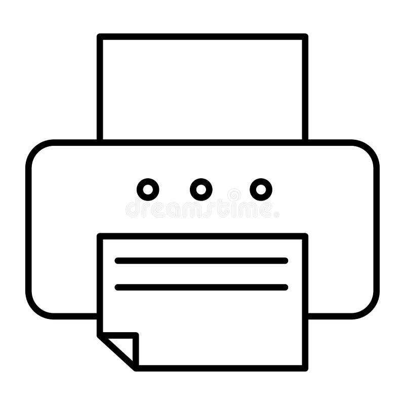 Drukarki cienka kreskowa ikona Faks wektorowa ilustracja odizolowywająca na bielu Biurowej drukarki konturu stylu projekt, projek ilustracji