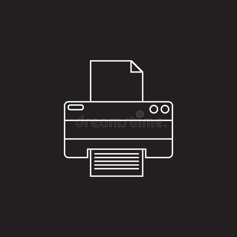 Drukarki cienka kreskowa ikona, konturu loga wektorowa ilustracja, liniowa ilustracja wektor