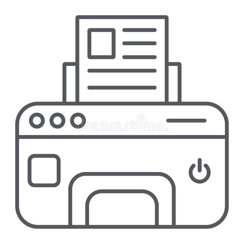 Drukarki cienka kreskowa ikona, przyrząd i druk, faksu znak, wektorowe grafika, liniowy wzór na białym tle ilustracji