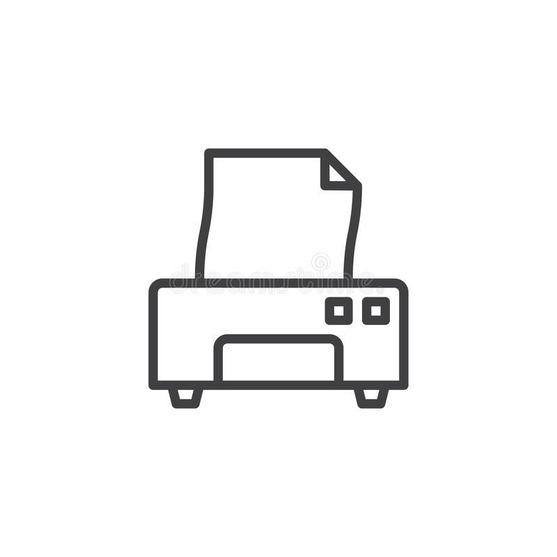 Drukarki i papierowego dokumentu linii ikona ilustracji