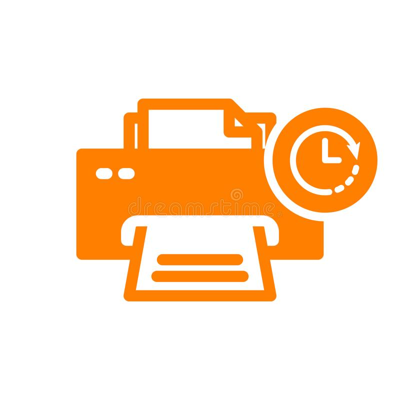 Drukarki ikona, technologii ikona z zegaru znakiem Drukarki ikona i odliczanie, ostateczny termin, rozkład, planistyczny symbol royalty ilustracja