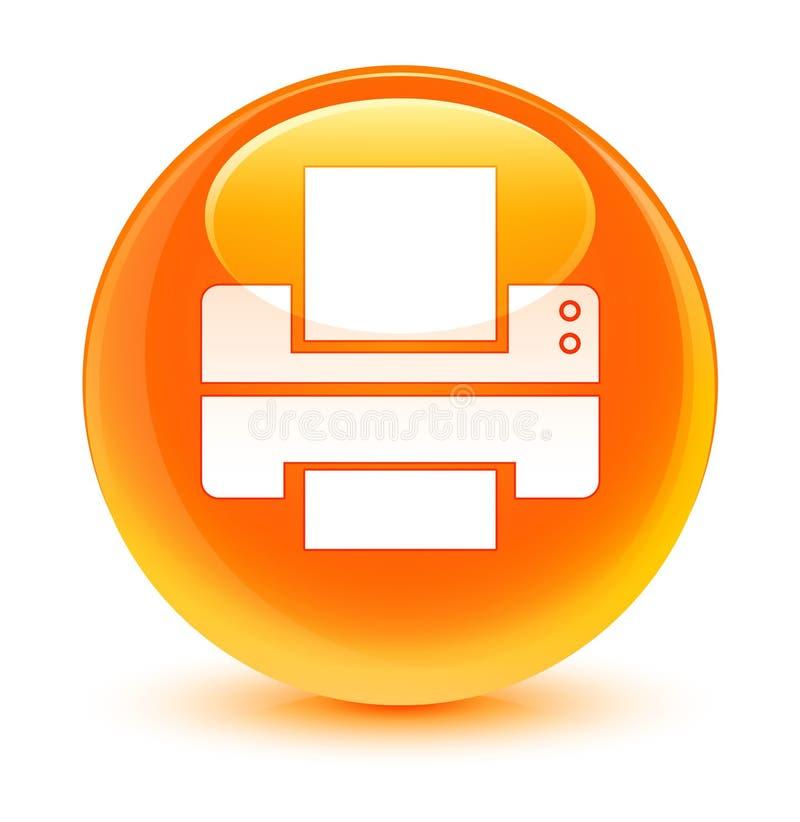 Drukarki ikony szklisty pomarańczowy round guzik ilustracja wektor