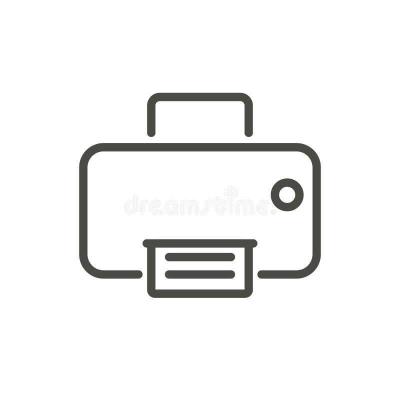Drukarki ikony wektor Kreskowy faksu symbol royalty ilustracja