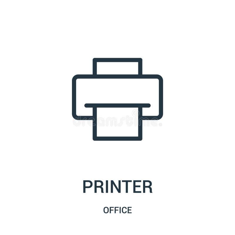 drukarki ikony wektor od biurowej kolekcji Cienieje kreskowej drukarki konturu ikony wektoru ilustracj? royalty ilustracja