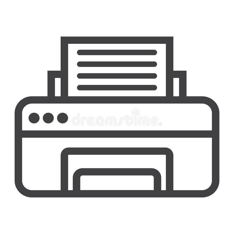 Drukarki kreskowa ikona, faks i biuro, wektor ilustracji