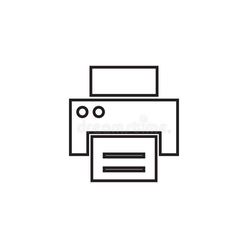 Drukarki kreskowa ikona, kontur i bryła wektorowy logo, liniowy piktogram odizolowywający na bielu, piksel perfect ilustracja royalty ilustracja