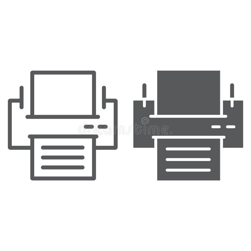 Drukarki linia, glif ikona, biuro i praca, royalty ilustracja