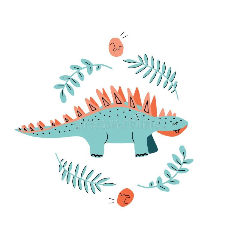 Drukmalplaatje met leuk Dino Stegosaurus Hand getrokken Skandinavische grafisch voor typografieaffiche, kaart, etiket, brochure,  stock illustratie