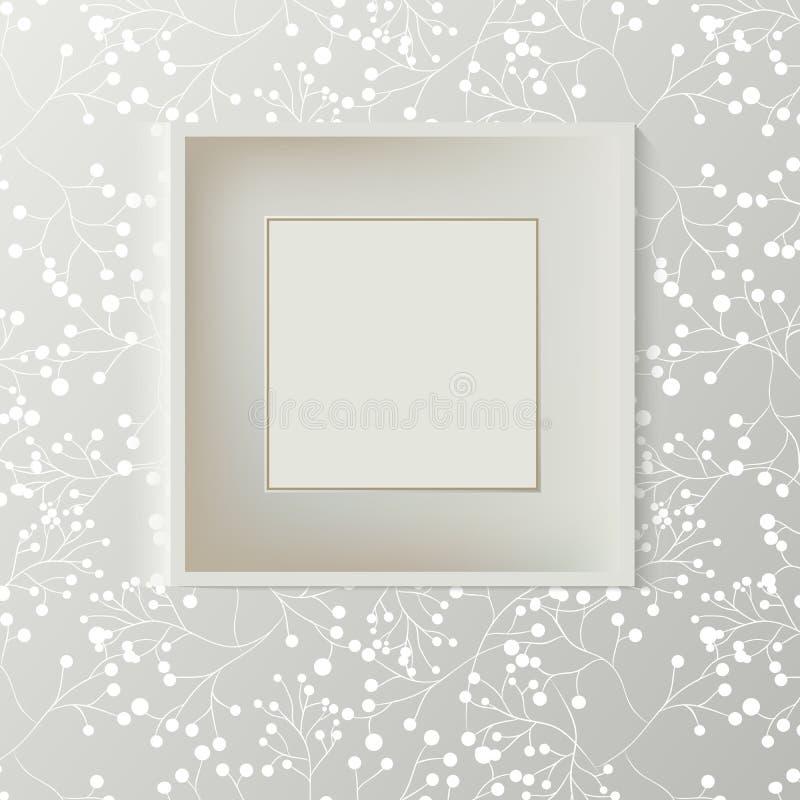 Drukowana popielata tapeta z pustą ramą dla copyspace na ścianie, elegancki świeży wewnętrzny izbowy mockup ilustracji