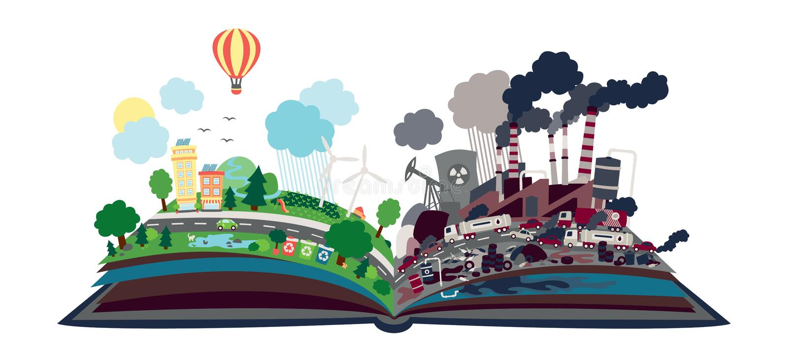 Ecological message in form of open book. Half polluted, half natural with renewable energy sources. Our Future. Ecological message in form of open book. Half royalty free illustration