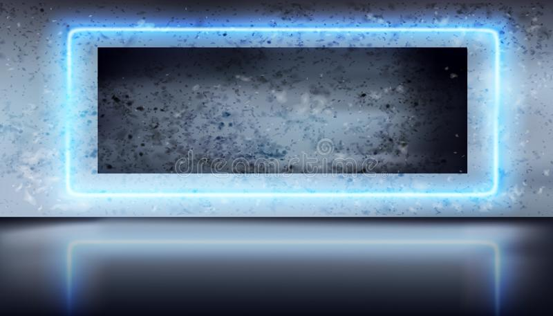 Concrete wall illuminated by a neon. Vector illustration. vector illustration