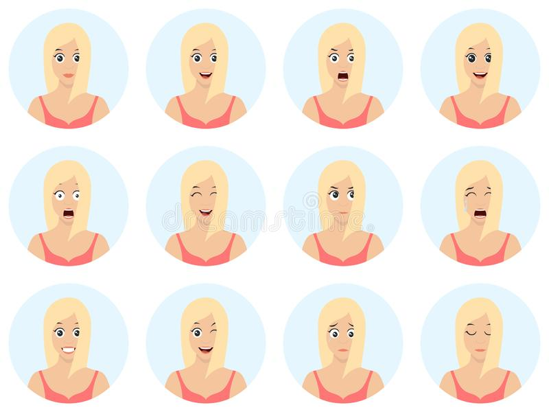 Sexy and beautiful young girl avatars with different expressions. Girl emotion faces cartoon vector illustration. Woman emoji face royalty free illustration