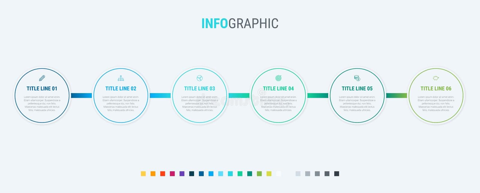 Vector infographics timeline design template with circle elements. Content, schedule, timeline, diagram, workflow, business, infog stock illustration