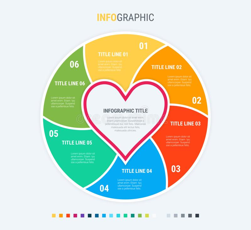 Infographic template. Love is in the air. 6 steps hearted design with beautiful colors. Vector timeline elements for presentations. Colorful diagram, infographic vector illustration