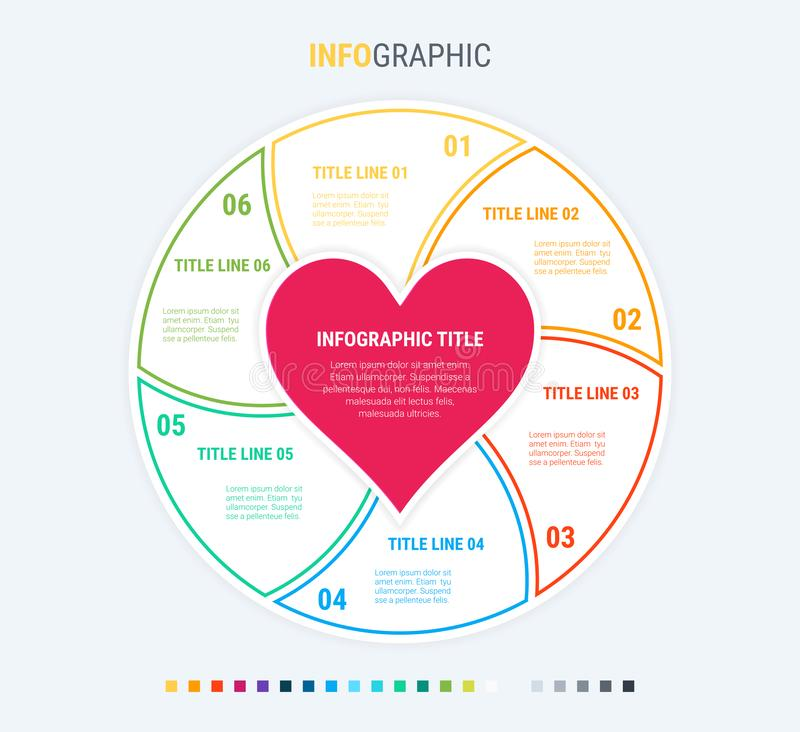 Infographic love template. 6 steps design with beautiful colors. Vector infographic elements for presentations. Colorful diagram, infographic template. Love royalty free illustration