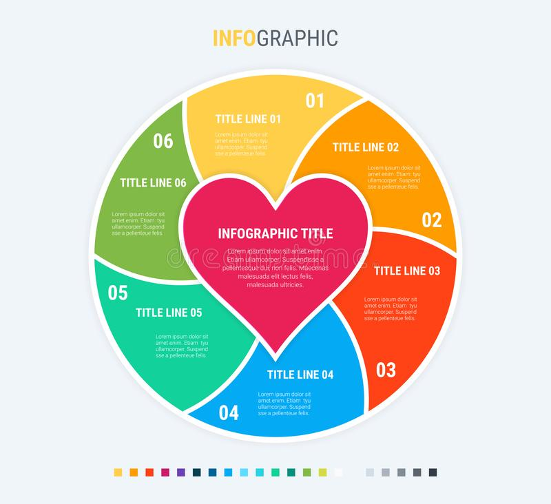 Colorful diagram, infographic template. Love infographic template with 6 steps. Heart workflow process for valentines. Vector desi. Infographic love template. 6 stock illustration