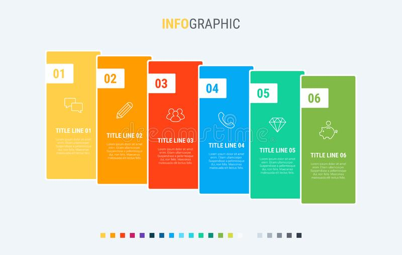 Colorful diagram, infographic template. Timeline with 6 options. Workflow process for business. Vector design. Timeline infographic design vector. 6 options stock illustration