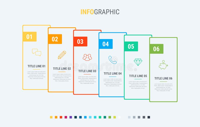Timeline infographic design vector. 6 options, rectangular workflow layout. Vector infographic timeline template. Colorful diagram, infographic template vector illustration