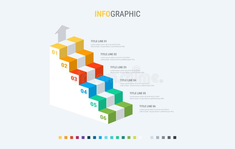 Infographic template. 6 stairs design with beautiful colors. Vector timeline elements for presentations. Infographic template. 6 colorful options. Stairs vector illustration
