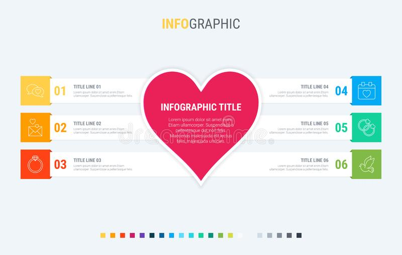 Colorful diagram, infographic template. Love infographic template with 6 steps. Heart workflow process for valentines. Vector desi. Infographic template. Love is vector illustration