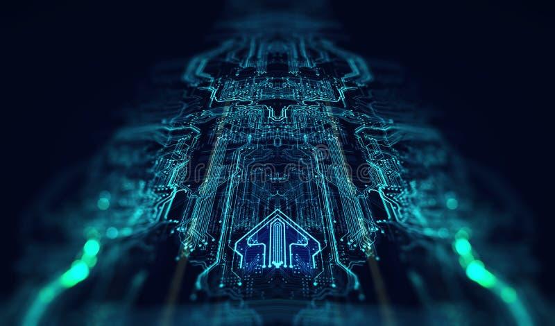 Drukowany obwód deski futurystyczny serwer royalty ilustracja