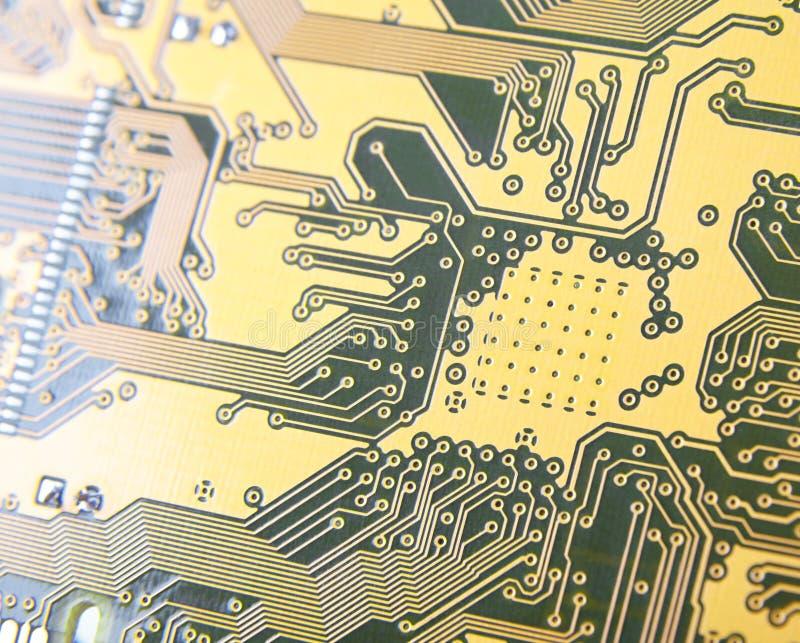 Drukowany obwód deski zakończenie, kontaktowi ślada elektronika wi fotografia royalty free