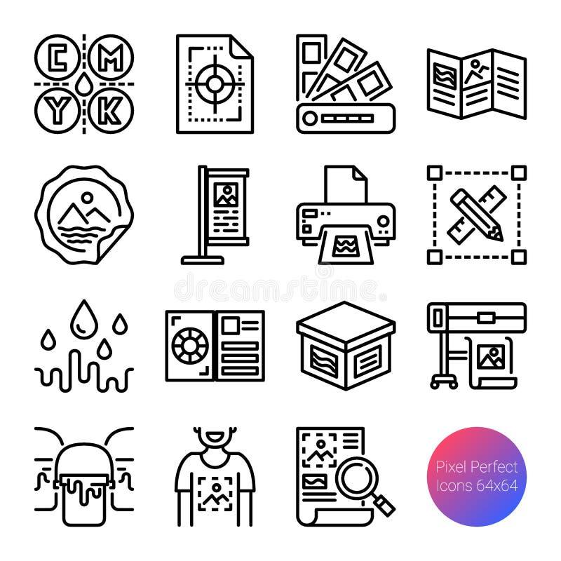 Drukowe kontur ikony ilustracji