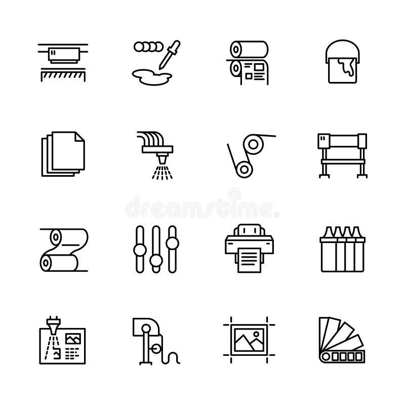 Drukowego domu ikony prosty set Zawiera taki symbole drukarka, przeszukiwacz, odsadzki maszyna, spiskowiec, broszurka, pieczątka ilustracji