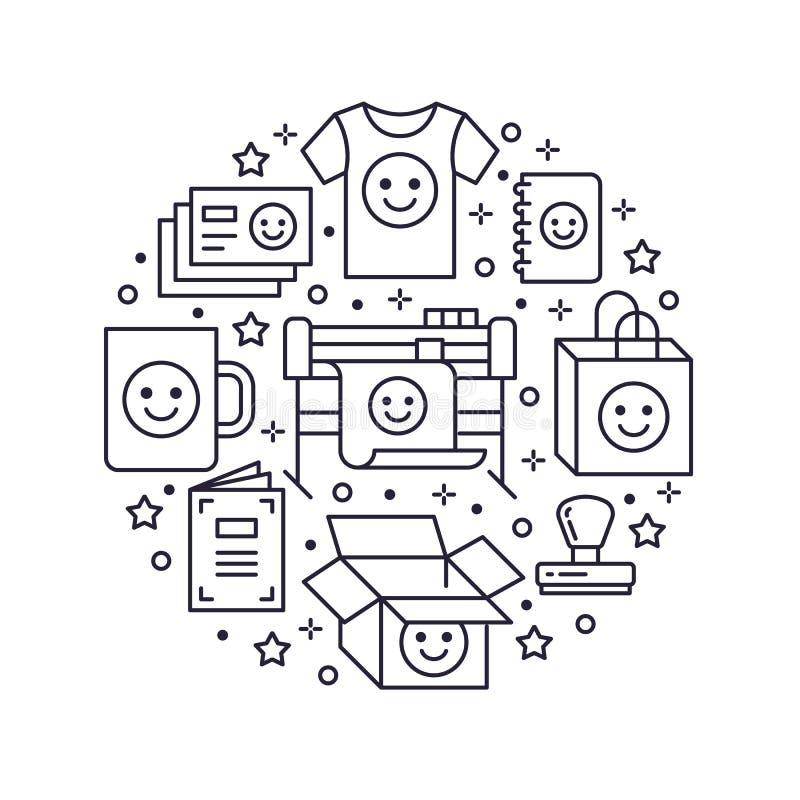 Drukowego domu okręgu plakat z mieszkanie linii ikonami Druku sklepu wyposażenie - drukarka, broszurka, pieczątka, torba, kubek ilustracji