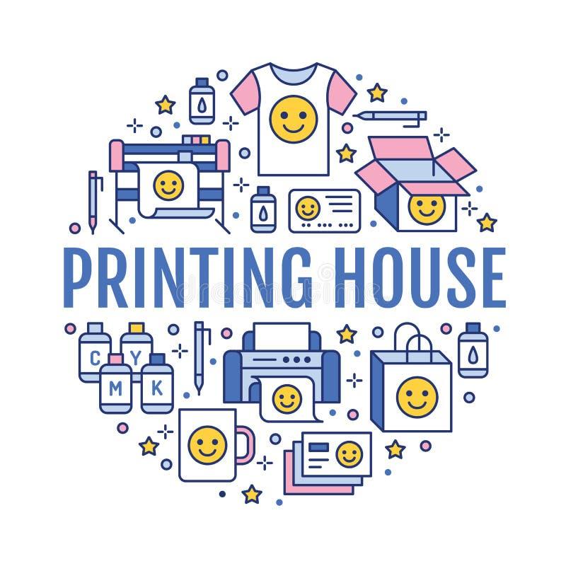 Drukowego domu okręgu plakat z mieszkanie linii ikonami Druku sklepu wyposażenie - drukarka, przeszukiwacz, kompensująca maszyna, royalty ilustracja