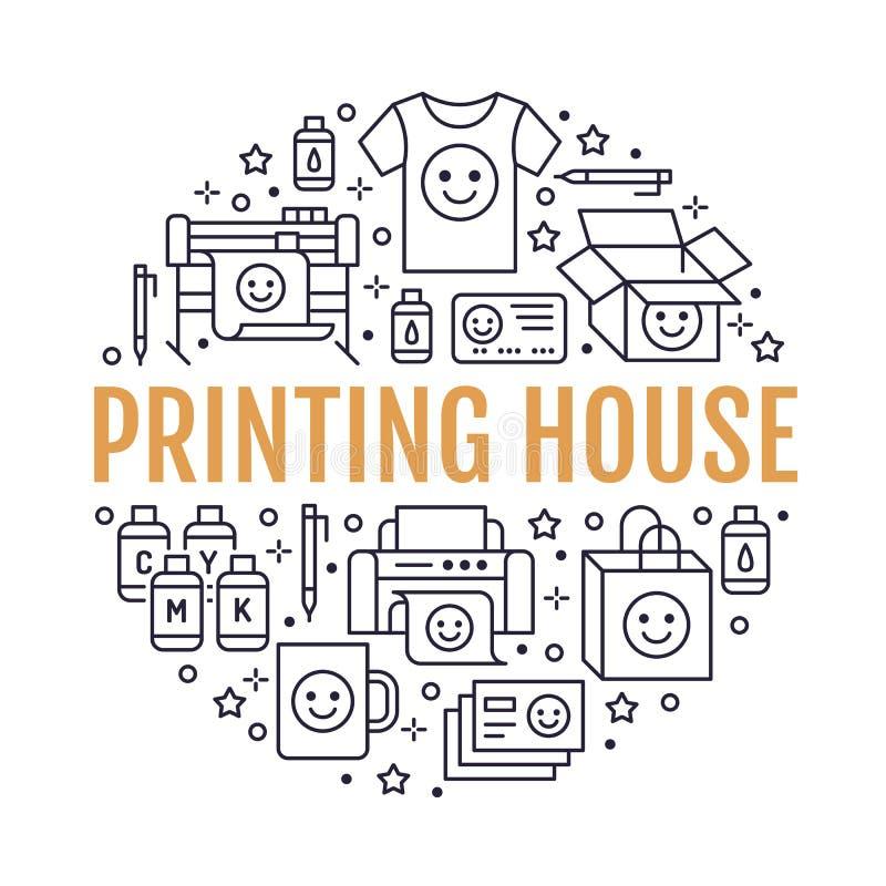 Drukowego domu okręgu plakat z mieszkanie linii ikonami Druku sklepu wyposażenie - drukarka, przeszukiwacz, kompensująca maszyna, ilustracja wektor