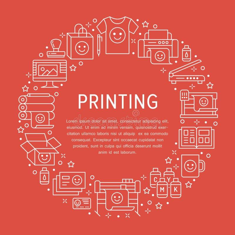 Drukowego domu okręgu plakat z mieszkanie linii ikonami Druku sklepu wyposażenie - drukarka, przeszukiwacz, kompensująca maszyna, ilustracji
