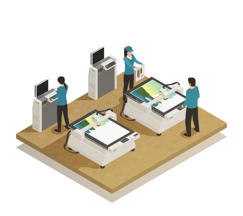 Drukowego domu produkci Isometric skład royalty ilustracja