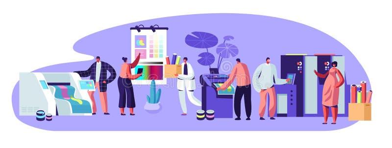 Drukowego domu Reklamowa agencja, Polygraphy przemysłu skład z Ludzkimi charakterami Klienci, projektanci, pracownicy ilustracji