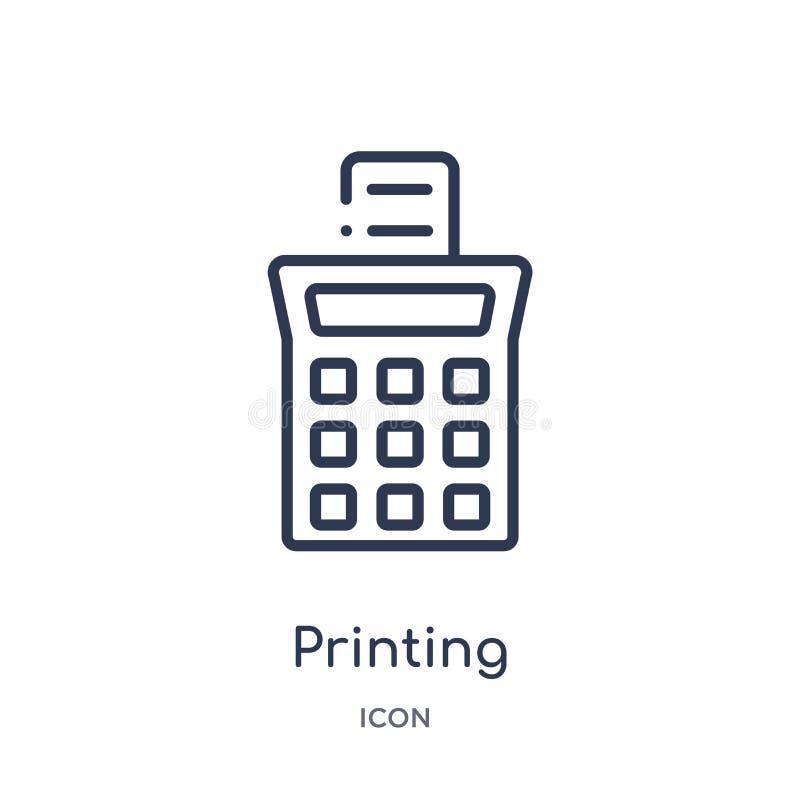 drukowego kalkulatora ikona od narzędzi i naczynia zarysowywamy kolekcję Cienka kreskowa drukowego kalkulatora ikona odizolowywaj royalty ilustracja