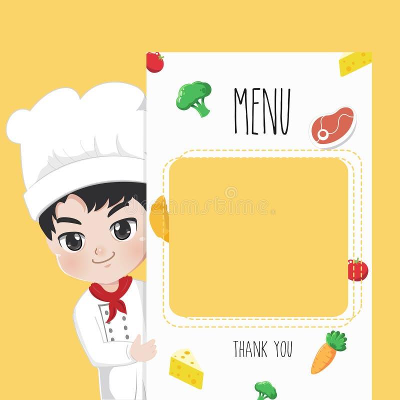Drukowego menu szefa kuchni śliczna chłopiec royalty ilustracja