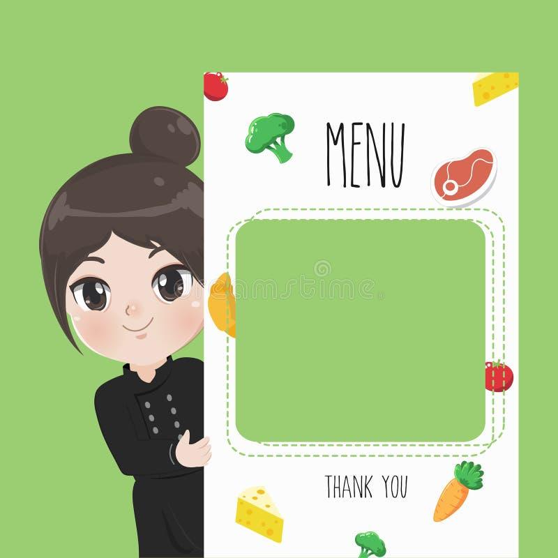 Drukowego menu szefa kuchni śliczna dziewczyna ilustracji