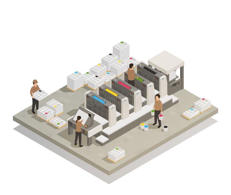 Drukowego procesu produkcji Isometric skład ilustracji