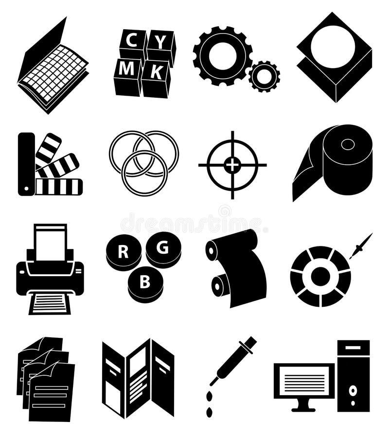 Drukowej prasy ikony ustawiać ilustracji