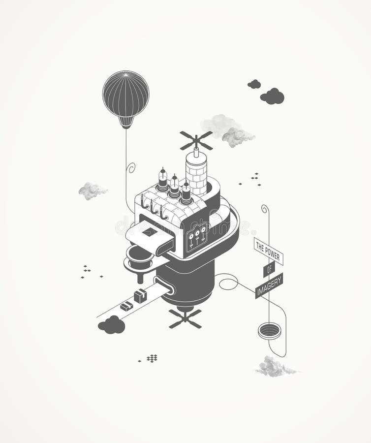 Drukowy dom ilustracja wektor