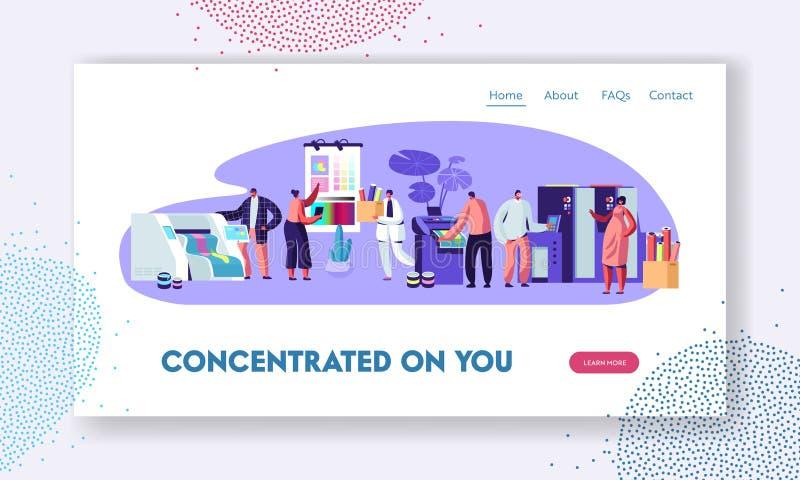 Drukowy dom lub Reklamowa agencja, Polygraphy przemysł Klienci, projektanci, pracownicy Produkujący Prasowego Consumable reklama  ilustracja wektor
