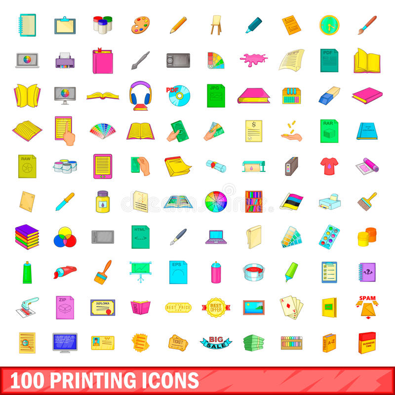 100 drukowych ikon ustawiających, kreskówka styl ilustracja wektor