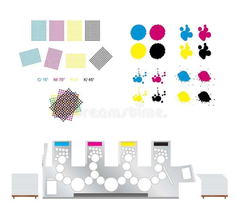Drukreeks - drukrozetten, drukmachine en cmyk stock illustratie